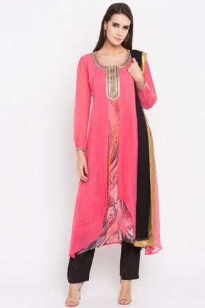 Ultimate Pink Faux Georgette Plus Size Readymade Salwar Suit With Faux Chiffon Dupatta