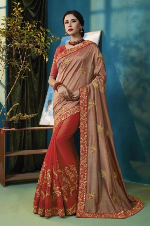 Pretty Red and Peach Chiffon Bridesmaid Saree With Chiffon Blouse