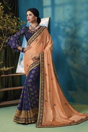 Stylish Peach and Blue Silk and Georgette Bridesmaid Saree With Silk Blouse
