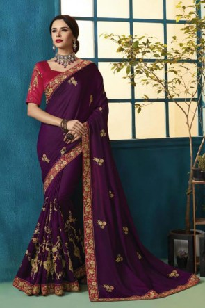 Desirable Violet Silk and Georgette Bridesmaid Saree With Silk Blouse