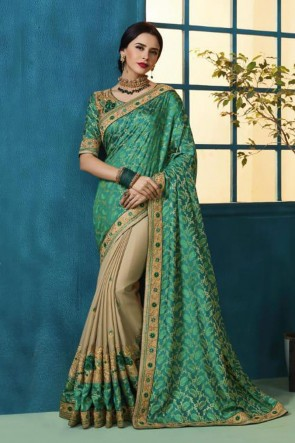 Charming Green and Beige Silk and Georgette Bridesmaid Saree With Silk Blouse
