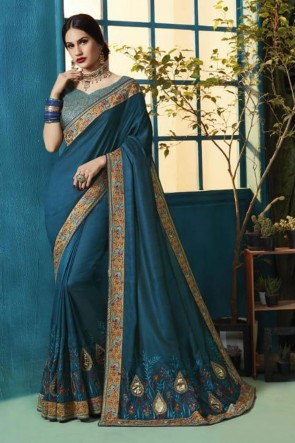 Excellent Teal Silk and Georgette Bridesmaid Saree With Silk Blouse