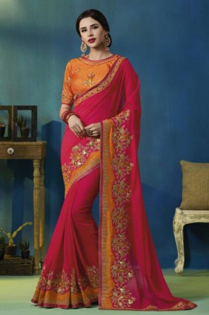 Optimum Pink Silk and Georgette Bridesmaid Saree With Silk Blouse