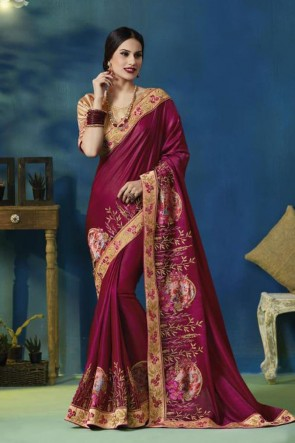 Ultimate Purple Silk and Georgette Bridesmaid Saree With Silk Blouse
