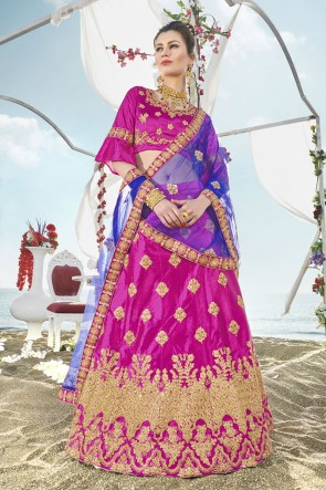 Lovely Pink Silk Embroidered Designer Lehenga Choli With Silk Dupatta