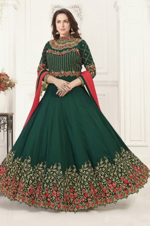 Ultimate Green Georgette Embroidered Anarkali Salwar Suit With Chiffon Dupatta