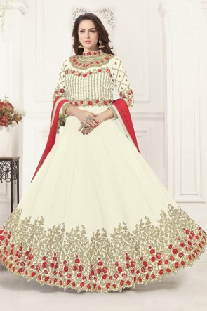 Beautiful Off White Georgette Embroidered Anarkali Salwar Suit With Chiffon Dupatta
