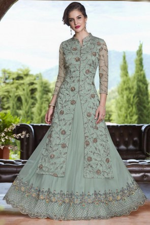 Pretty Turquoise Net Embroidered Designer Salwar Suit With Net Dupatta