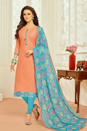 Stylish Peach Cotton Embroidered Casual Salwar Suit With Chiffon Dupatta