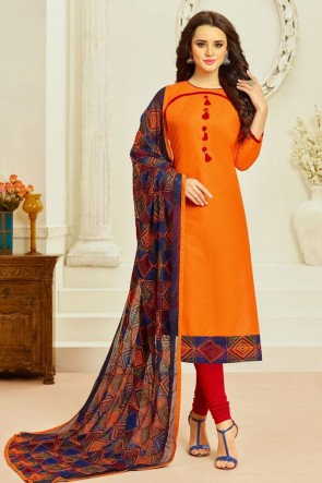 Gorgeous Cream Cotton Embroidered Casual Salwar Suit With Chiffon Dupatta