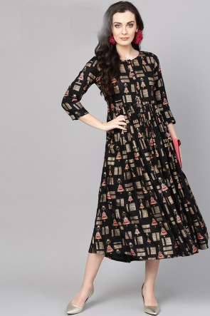 Excellent Black Cotton Printed Casual Kurti