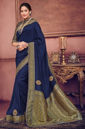 Admirable Navy Blue Silk Bridesmaid Embroidered Saree With Silk Blouse