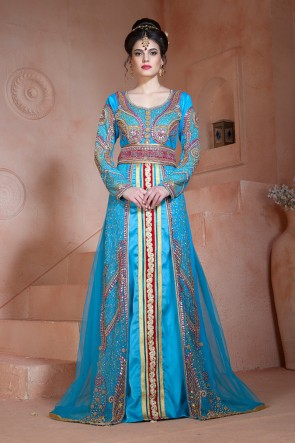 Marvelous Sky Blue Velvet, Net and Silk Embroidered Eid Special Kaftan