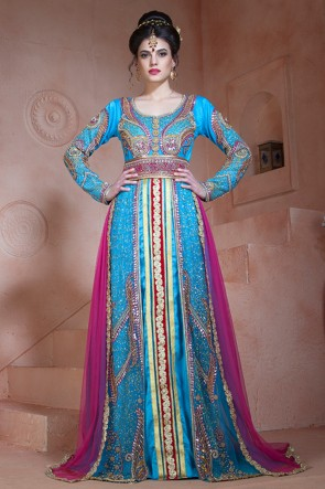 Sky Blue Velvet, Net and Silk Embroidered Designer Kaftan