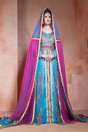 Embroidered Sky Blue Velvet, Net and Silk Designer Kaftan