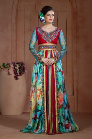 Multi Color Satin, Net and Velvet Embroidered Kaftan