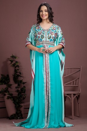 Pretty Sky Blue Satin, Crepe and Georgette Embroidered Kaftan