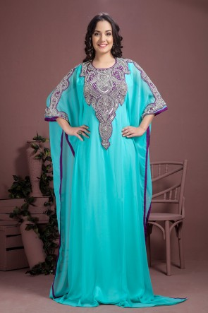 Embroidered Sky Blue Georgette and Crepe Embroidered Kaftan