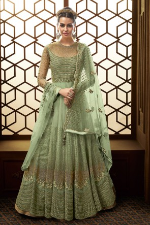 Green Net Embroidered Anarkali Pakistani Salwar Suit With Net Dupatta