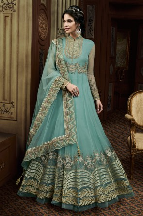Turquoise Net Embroidered Anarkali Salwar Suit With Net Dupatta