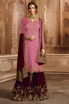 Kritika Kamra Pink Satin and Georgette Embroidered Designer Sharara Palazzo Salwar Suit With Georgette Dupatta