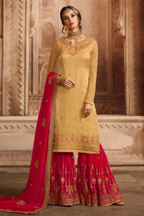 Kritika Kamra Beige Satin and Georgette Embroidered Designer Sharara Palazzo Salwar Suit With Georgette Dupatta