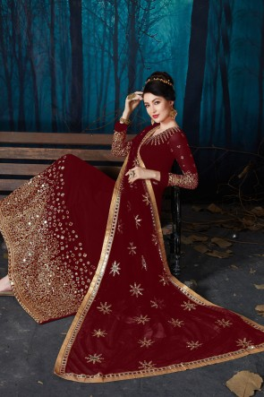 Gorgeous Engagement Wear Maroon Faux Georgette Embroidered And Mirror Work Anarkali Suit