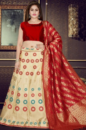 Party Wear Stylish Red And Cream Jacquard Work Lehenga With Stone Work Blouse