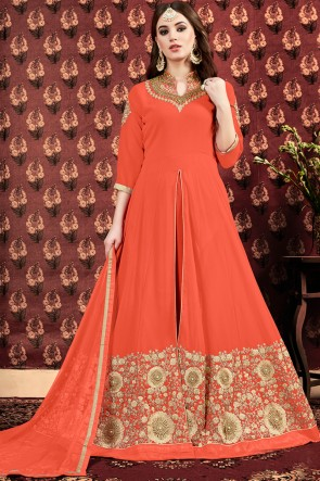 Beautiful Orange Faux Georgette Embroidered And Stone Work Anarkali Suit And Dupatta