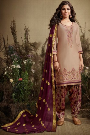 Beige Cotton And Silk Fabric Embroidered Patiala Suit With Nazmin Dupatta