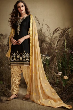 Black Jacquard Work Silk And Cotton Patiala Suit With Nazmin Dupatta