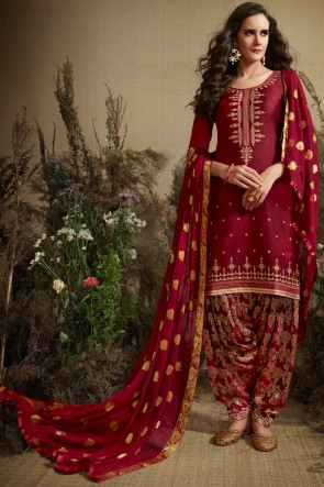 Gorgeous Maroon Jacquard Work And Embroidered Silk Patiala Suit With Nazmin Dupatta
