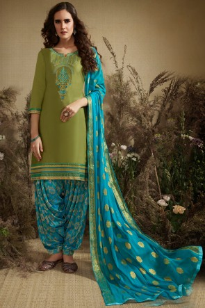 Party Wear Olive Embroidered And Jacquard Work Cotton And Silk Patiala Suit