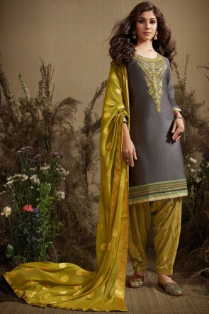 Diwali Special Grey Silk Jequard Bottom Fabric Cotton Anarkali Suit With Nazmin Dupatta
