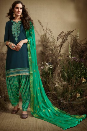 Pretty Turquoise Embroidered Cotton Patiala Suit With Nazmin Dupatta