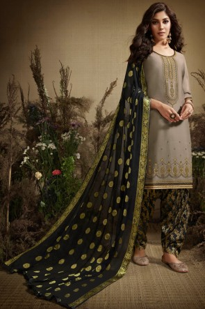 Excellent Grey Silk Jacquard Work Patiala Suit With Nazmin Dupatta
