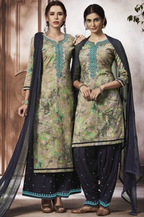 Beautiful Multi Embroidered Cotton Fabric Patiala Suit With Nazmin Dupatta