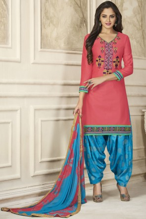 Classic Pink Embroidery Work Designer Patiala Suit And Jacquard Bottom