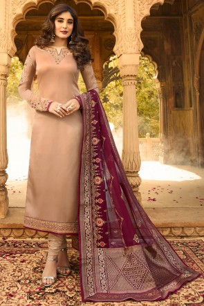 Kritika Kamra Beige Embroidered And Jacquard Work Georgette Satin Casual Salwar Suit