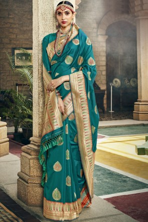 Heavy Designer Jacquard And Weaving Work Teal Silk Fabric Saree And Blouse
