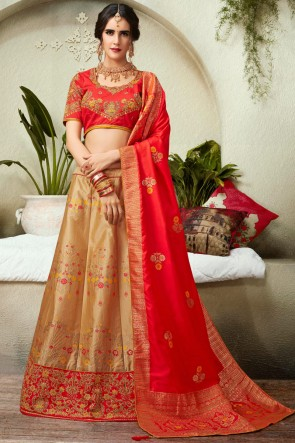 Golden Embroidred And Thread Work Silk And Jacquard Lehenga Choli And Dupatta