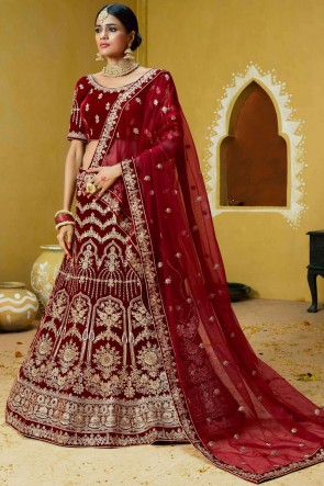 Classic Maroon Coding And Embroidery Work Velvet Lehenga Choli With Net Dupatta