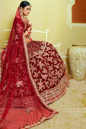 Stone And Thread Work Red Velvet Lehenga With Embroidery And Zari Work Blouse