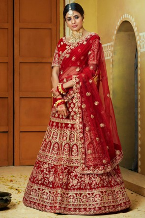 Velvet Fabric Red Embroidery And Zari Work Lehenga With Thread Work Blouse
