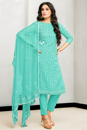 Lovely Sea Green Satin Embroidered And Printed Cotton Salwar Kameez With Nazmin Dupatta