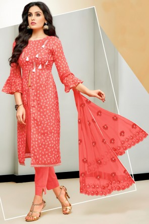 Beautiful Printed And Embroidered Red Cotton Salwar Kameez With Nazmin Dupatta