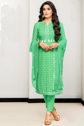 Delightful Embroidered And Printed Light Green Cotton Salwar Kameez With Nazmin Dupatta
