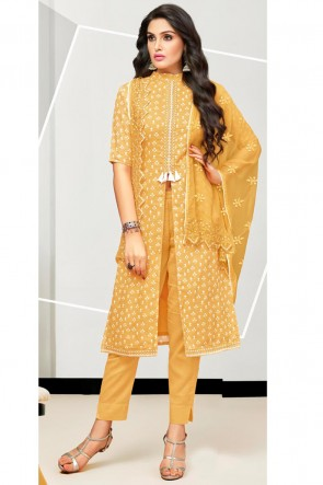 Party Wear Satin And Cotton Musterd Printed And Embroidered Salwar Suit With Nazmin Dupatta
