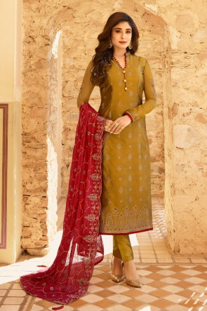 Delightful Golden Embroidered And Stone Work Jacquard Salwar Suit With Georgette Dupatta