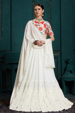 Delightful White Thread Work And Sequins Work Georgette Lehenga Choli And Dupatta